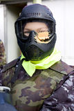 Portrait of paintball player. Stock Photos