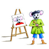 Portrait painter mouse Stock Photos