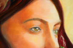 Portrait painting detail Stock Images