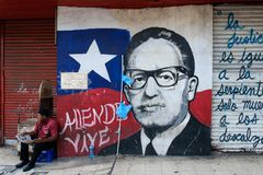 Portrait painting of former President of Chile, Salvador Allende Royalty Free Stock Image