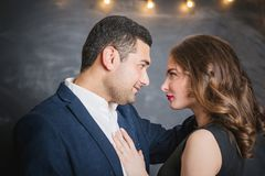 Portrait of a pair of brunettes male and female. Portrait of a passionate couple of brunettes male and female Stock Images
