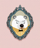 Portrait of a panda bear with a mustache in a retro style. Backg Stock Photo
