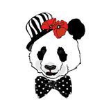 Portrait of panda in pot hat Stock Photos