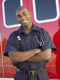 Portrait of paramedic in front of ambulance Stock Image