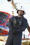 Portrait of paramedic standing in front of Medevac Royalty Free Stock Image