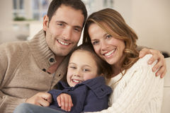 Portrait parents and daughter at home Royalty Free Stock Photo