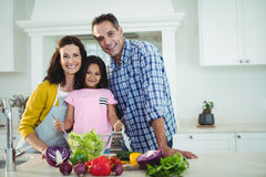 Portrait of parents and daughter preparing salad in kitchen Stock Photography