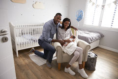 Portrait Of Parents Home from Hospital With Newborn Baby Royalty Free Stock Photos