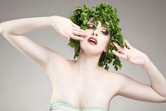 Portrait of parsley haired woman Stock Image