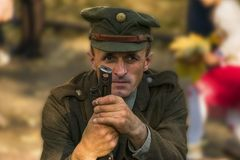 Portrait of the participant reconstruction. Lviv, Ukraine – Oktober,14, 2018: Military historical reconstruction is dedicated to The anniversary of the stock image