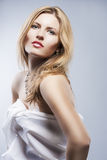 Portrait of a Passionate Blond Female Smiling. Beautiful Long Ha Stock Images