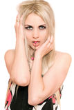 Portrait of passionate young blonde. Isolated Royalty Free Stock Image