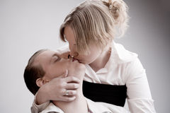 Portrait of a passionate young loving couple Stock Photos