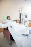 Portrait Of Patient Receiving Renal Dialysis royalty free stock photos
