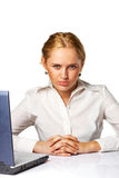 Portrait of a patient young business woman. Against white background Stock Photography