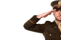 Portrait of a patriotic soldier saluting Royalty Free Stock Photography