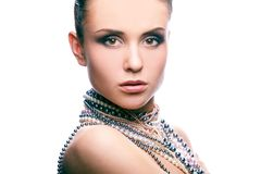 Portrait with pearls. Portrait of a sensual woman wearing pearls Stock Photography