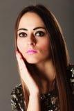 Portrait pensive brunette girl long hair Royalty Free Stock Images