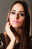 Portrait pensive brunette girl long hair Royalty Free Stock Photos