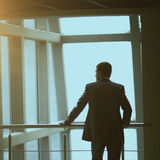 Portrait of pensive businessman standing with his back to the camera in front  a window Royalty Free Stock Images