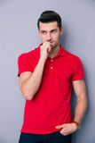 Portrait of a pensive casual man Stock Photo