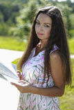 Portrait of a pensive female student Stock Photo