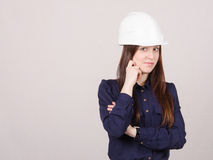 Portrait of pensive girl in a helmet Royalty Free Stock Images