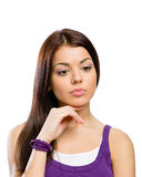 Portrait of pensive girl Stock Photos