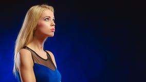 Portrait pensive girl long blond hair Stock Photo