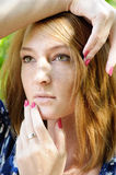 Portrait of pensive girl Royalty Free Stock Images