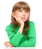 Portrait of a pensive little girl Stock Photos