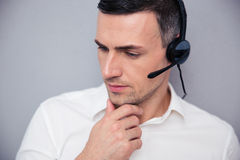 Portrait of a pensive male operator Stock Images