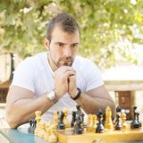 Portrait of pensive man chess opponent. Royalty Free Stock Image