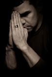 Portrait of pensive man with hands Royalty Free Stock Photography