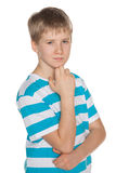 Portrait of a pensive preteen boy Royalty Free Stock Image