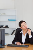 Portrait of a pensive secretary Royalty Free Stock Images