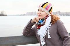 Portrait of pensive woman outdoor Stock Photos