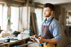 Portrait of pensive woodworker Royalty Free Stock Photo