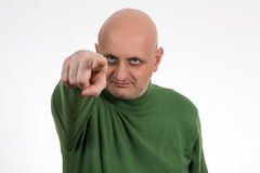 Portrait of a pensive young bald man Stock Photo