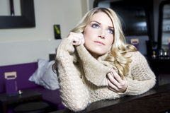 Portrait of pensive young blond woman Stock Photos