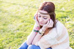 Portrait of pensive young girl hippie stylish, outdoor. Stock Photography