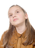 Portrait of a pensive young girl Stock Photos