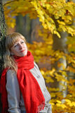 Portrait of the pensive young woman with a red scarf against the background of an autumn tree Royalty Free Stock Photography