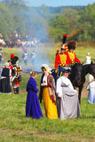 Portrait of people, men and women, in historical costumes. Stock Image