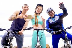 People travelling on a bicycle. A portrait of people travelling on a bicycle Stock Photo