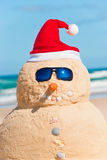 Portrait Of Perfect Snowman On Beach. Snowman made from Sand at the beach, smiling in Camera Royalty Free Stock Photos