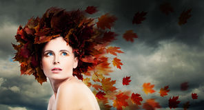 Portrait of Perfect Woman against Cloudy Sky Stock Images