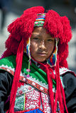A portrait of a performer in the May Day parade in Cusco, Peru. Royalty Free Stock Photo