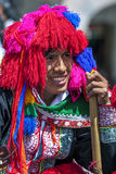 A portrait of a performer in the May Day parade in Cusco, Peru. Royalty Free Stock Photography