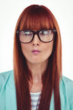 Portrait of a perplexed hipster woman Stock Images